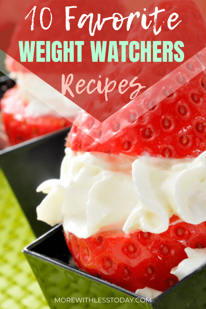 photo of a strawberry filled with white cream titled 10 Favorite Weight Watchers recipes