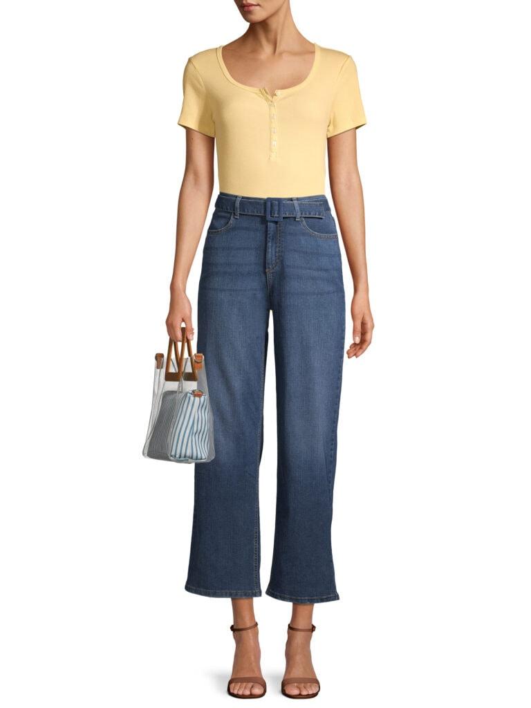 Time and Tru Women's High Rise Wide Leg Self Belt Jeans