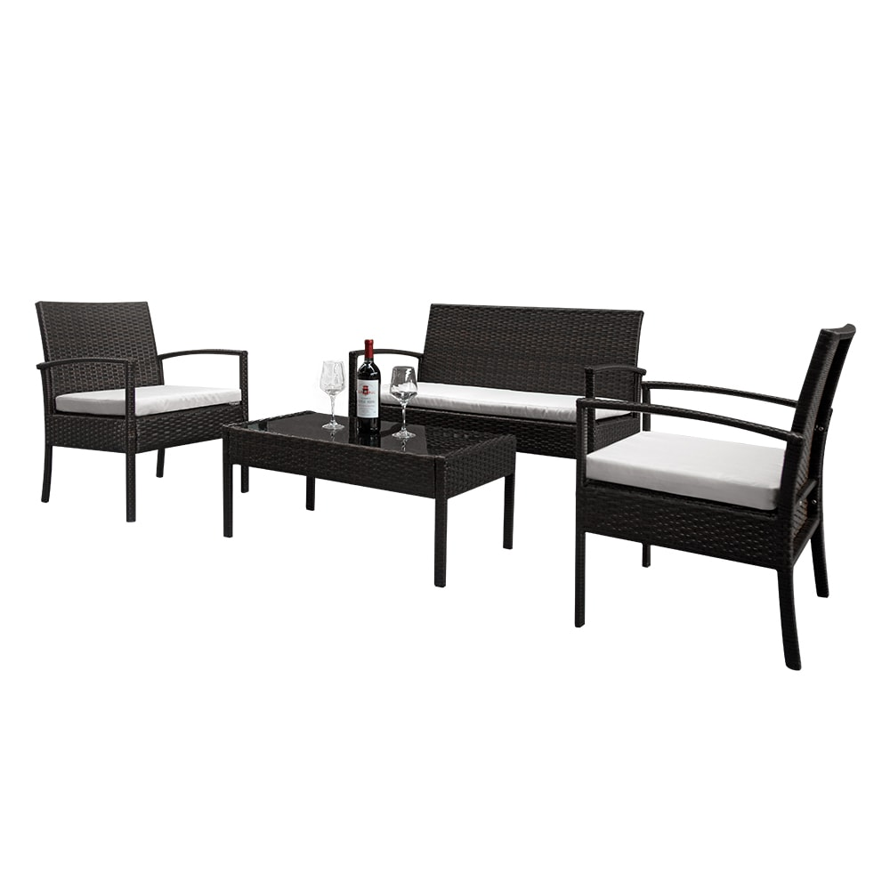 Wicker Patio Sets on Clearance, 4 Piece Outdoor Conversation Set With Glass Dining Table, Loveseat and 2 Cushioned Chairs