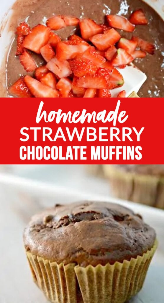 Homemade Strawberry Chocolate Muffins made with pantry ingredients