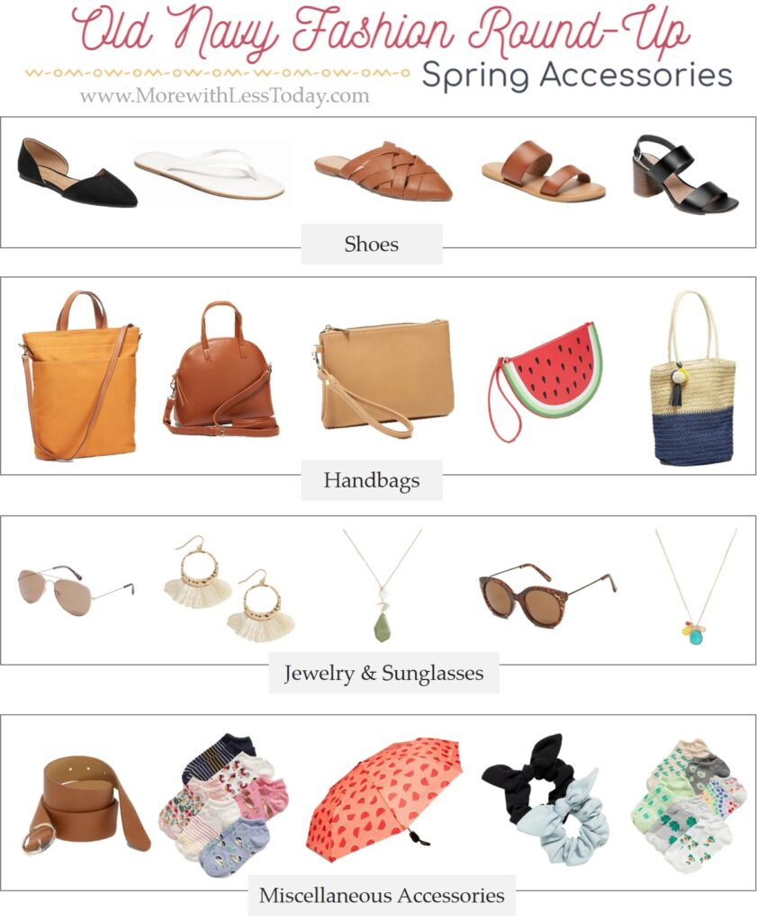 Old Navy jewelry and spring accessories fashion collage