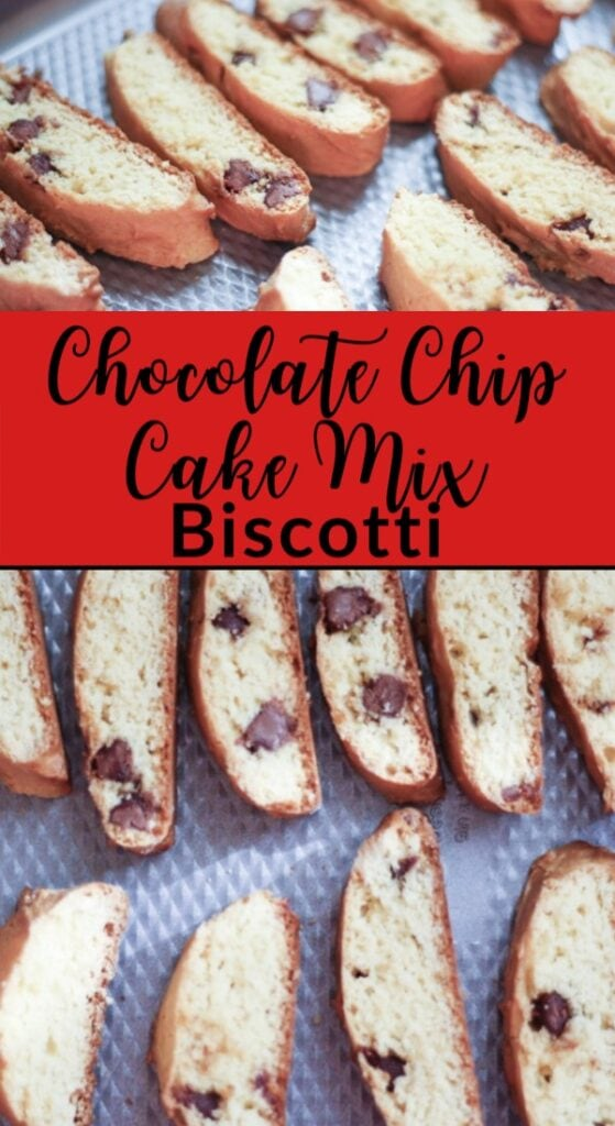 Chocolate Chip Biscotti made from a cake mix in slices for baking on a baking sheet