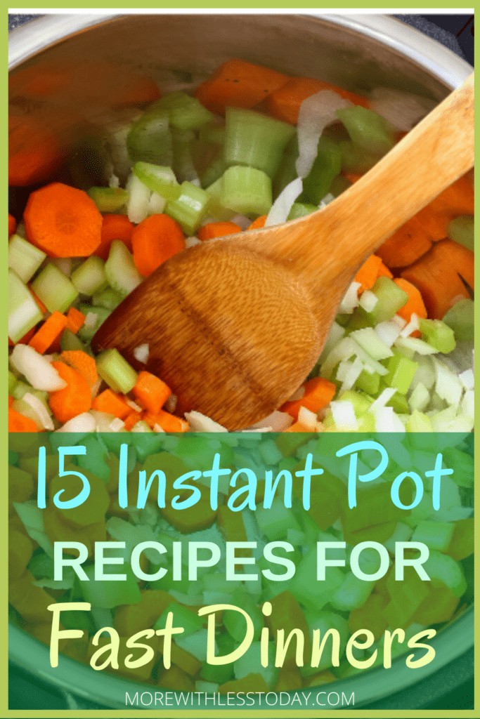 photo of a wooden spoon inside an instant pot to make quick and Easy Instant Pot recipes