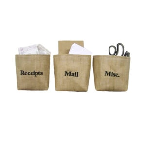 Personalized burlap baskets - mail - receipts - misc - embroidered - custom