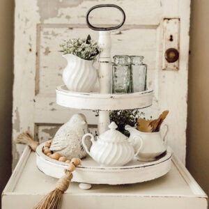 2 Tier White Distressed Tray