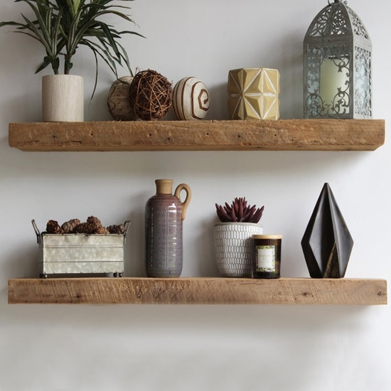 Floating Reclaimed Wood Shelves. Industrial, Rustic, Genuine Barn Wood. Amish Handcrafted in Lancaster County, PA.