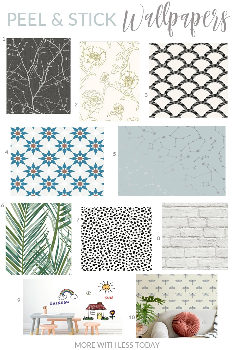 peel and stick temporary wallpaper selections from Overstock.com