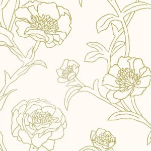 Peonies Peel and Stick Wallpaper - Gold Leaf