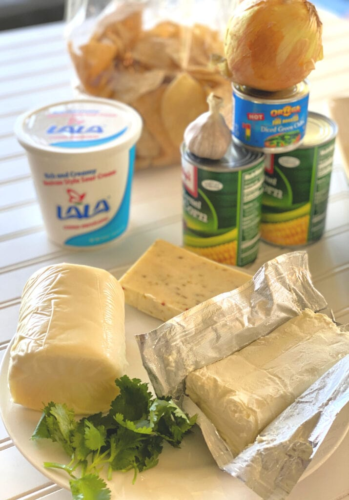 ingredients for Corn Dip with LALA® Crema Mexicana
