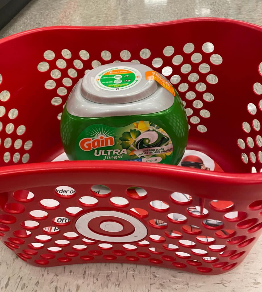 Gain Ultra Flings with Oxi Boost and Febreze for Large Loads in a Target red basket in store