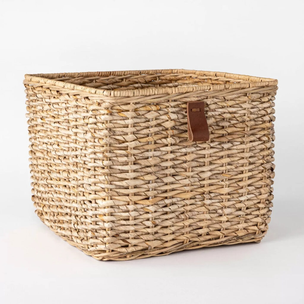 "Decorative Cube Basket with Leather Pull 13"" x 11"" White - Threshold™ designed with Studio McGee"