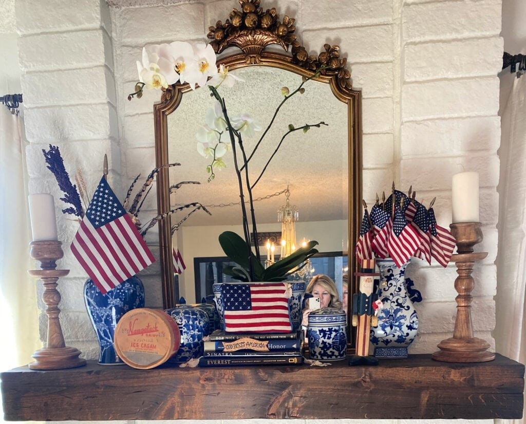 Etsy wood mantle with patriotic decor