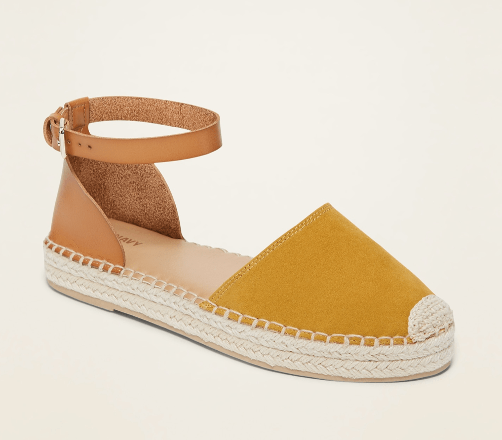photo of tan and gold espadrille sandals from Old Navy