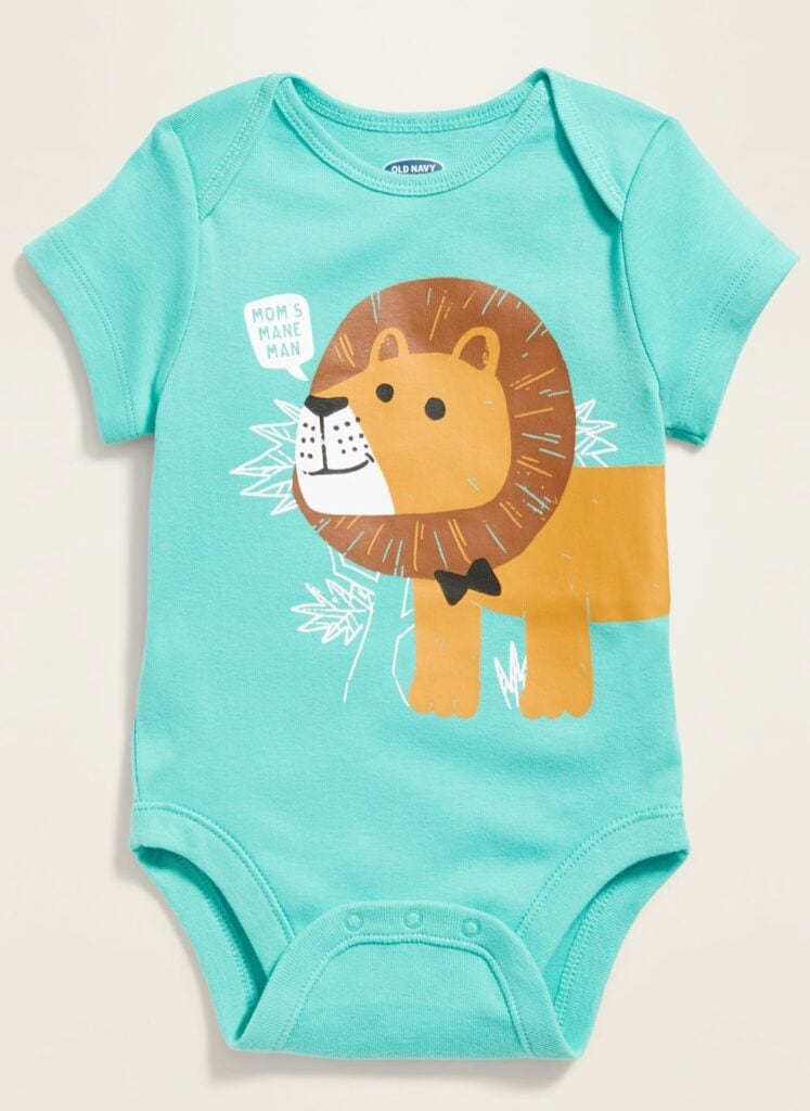photo of a blue onesie with a lion from Old Navy