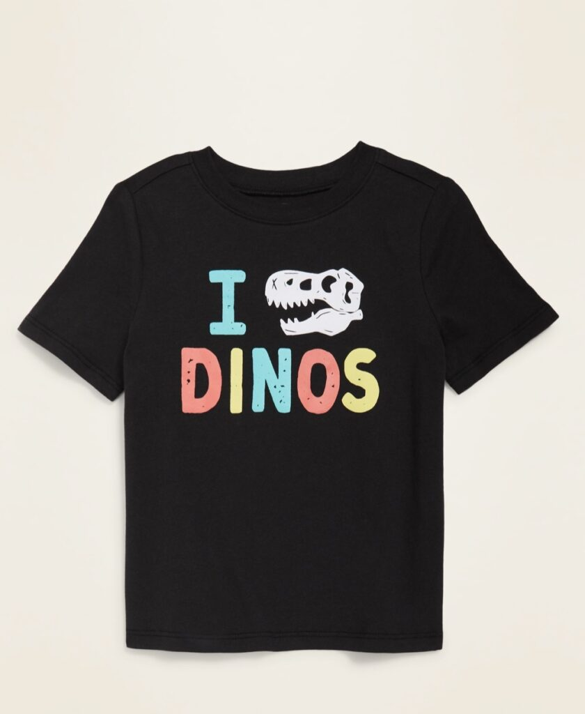 photo of a little boy's I Love Dinos tshirt from Old Navy