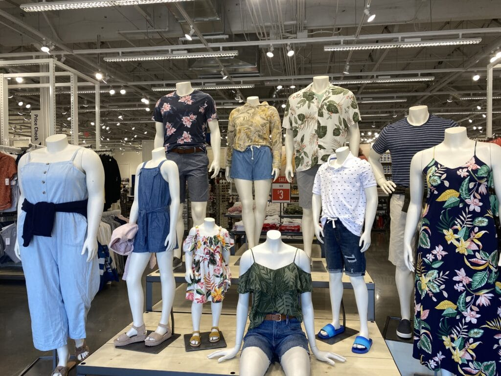 photo of mannequin display inside Old Navy store
