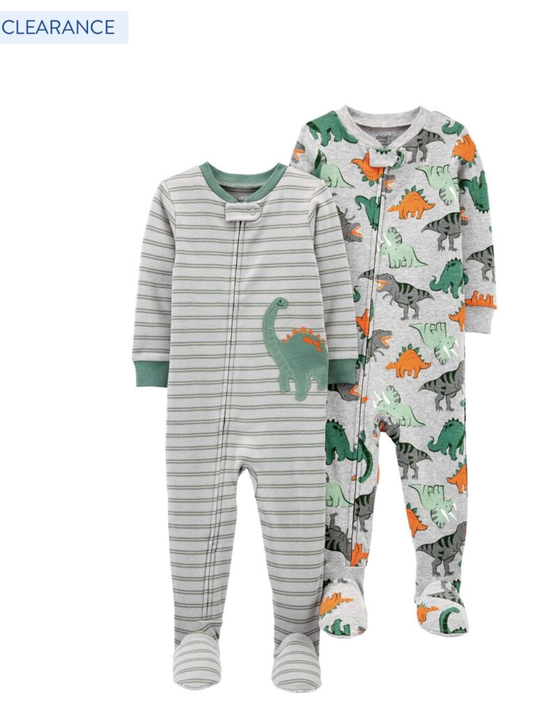 Child of Mine by Carter's Baby & Toddler Boys 1-Piece Snug Fit Cotton Footed Pajamas, 2-Pack