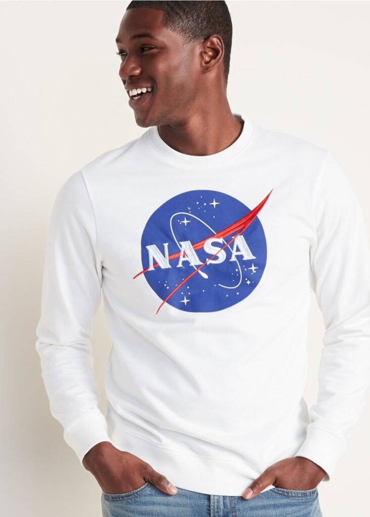 photo of a man wearing a NASA sweatshirt from Old Navy