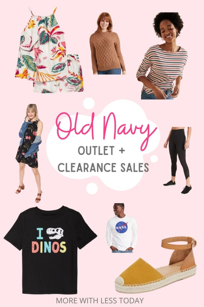 Old Navy Outlet and Clearance Sale collage of Old Navy clothing