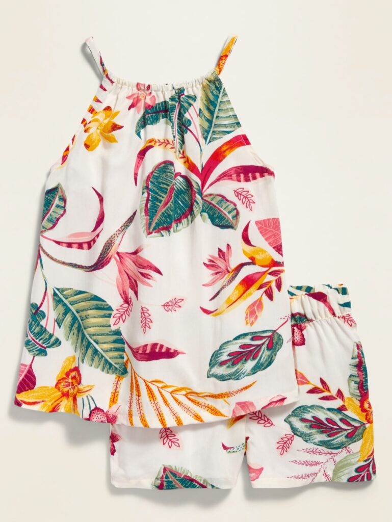photo of a little girl's 2-piece Hawaiian print romper from Old Navy