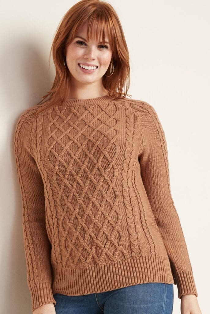 photo of a woman wearing a rust colored sweater from Old Navy