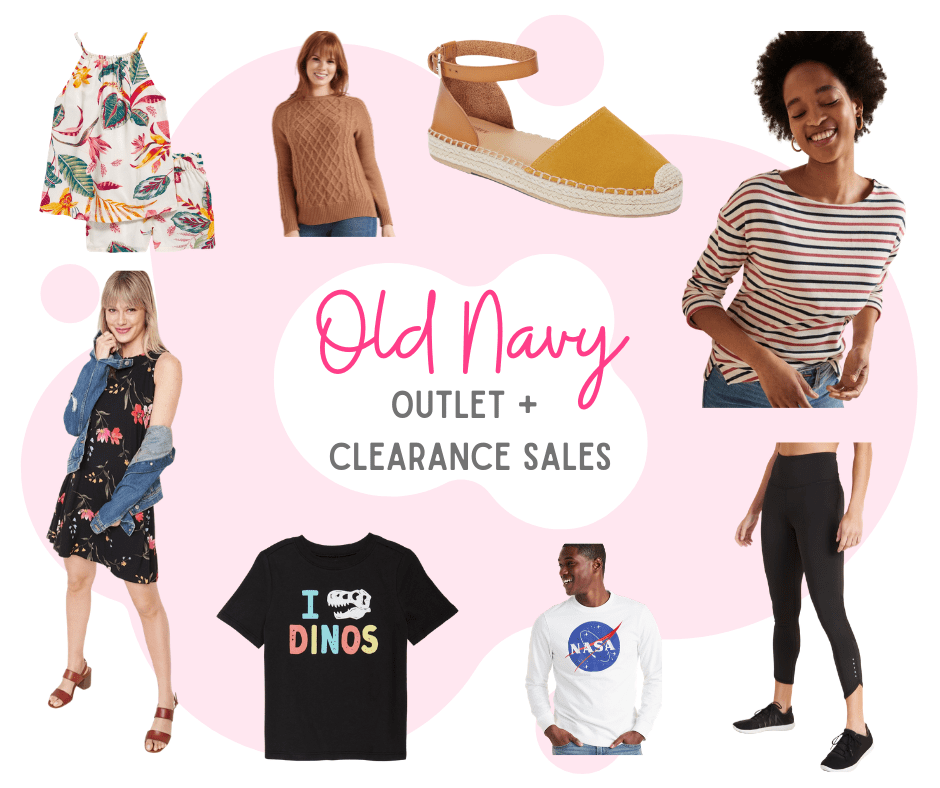 collage photo of Old Navy clearance clothing items
