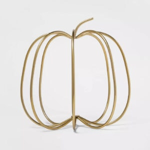 Gold Wire Harvest Pumpkin Decorative Accent Sculpture - Threshold™