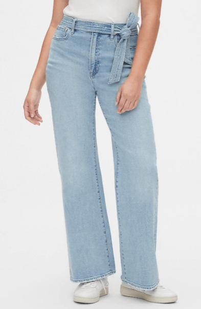 GAP High Rise Tie-Belt Denim Trousers with Secret Smoothing Pockets