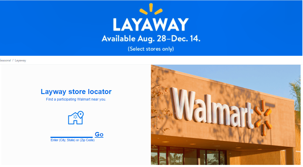 Walmart 2020 layaway dates