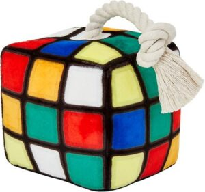 Frisco Retro Colorful Cube Plush with Rope Squeaky Dog Toy