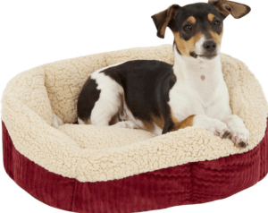 Aspen Pet Self-Warming Bolster Cat & Dog Bed, Warm Spice/Cream