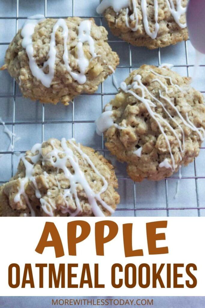 Apple Oatmeal Cookie recipe with sweet vanilla glaze