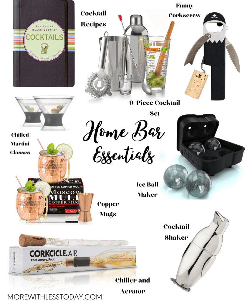 collage of home bar essentials