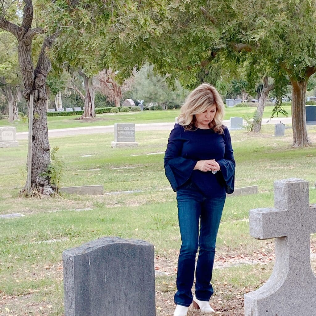 Lori Felix of More with Less Today visiting a cemetery