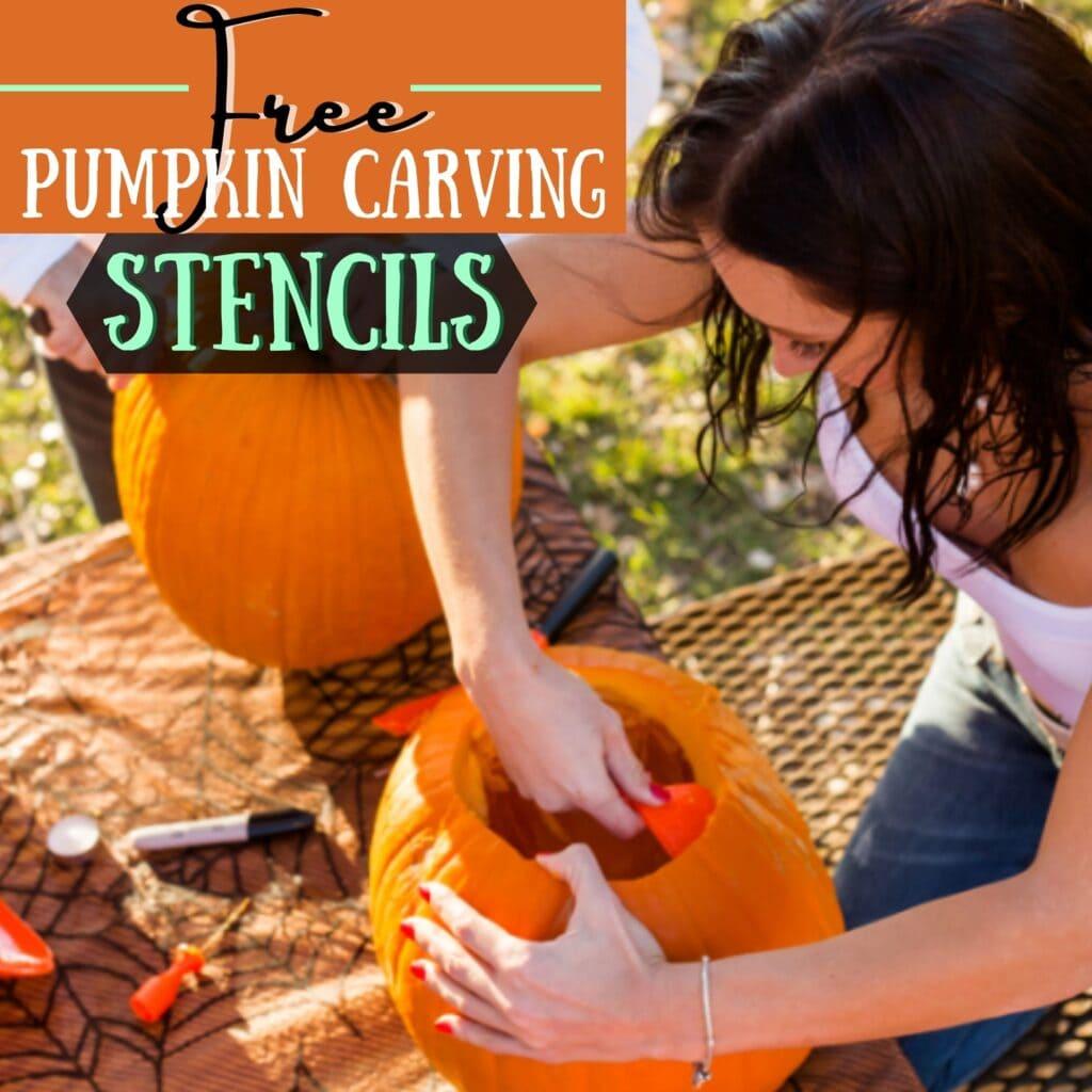 Free Pumpkin Carving Stencils graphic of woman carving a pumpkin