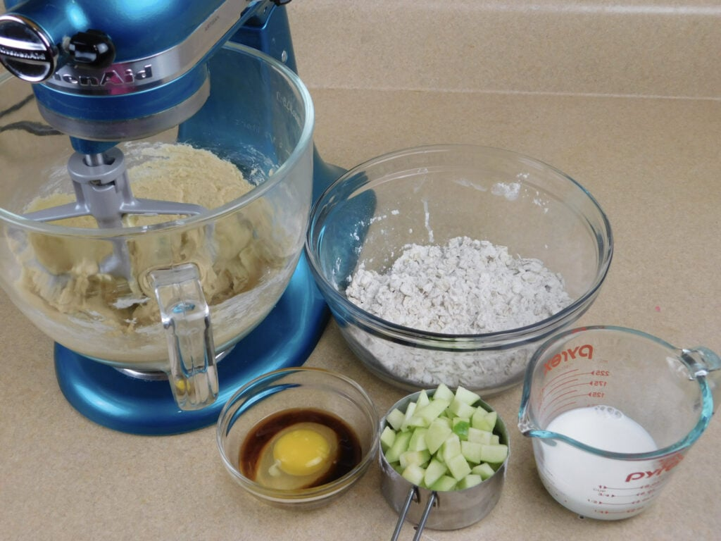 using a mixer to make Apple Oatmeal Cookies