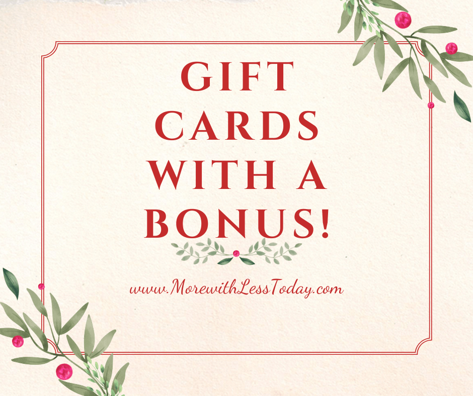 gift cards with a bonus holiday graphic