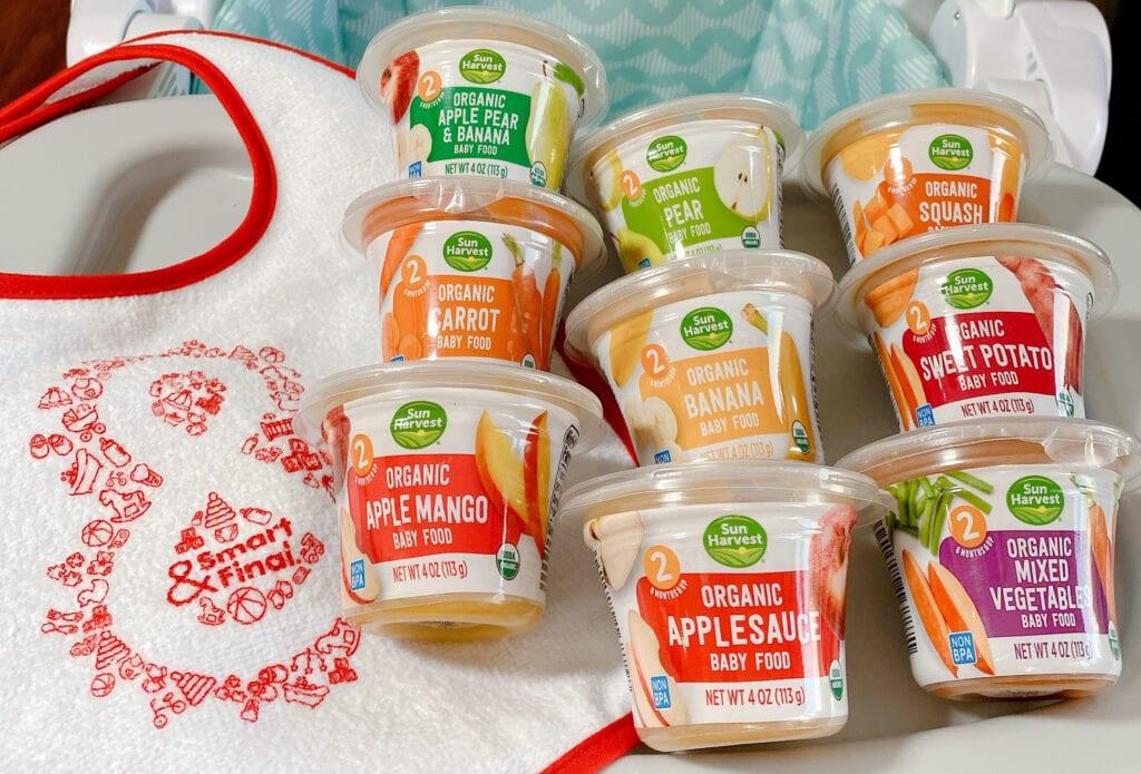 assortment of Sun Harvest organic baby food
