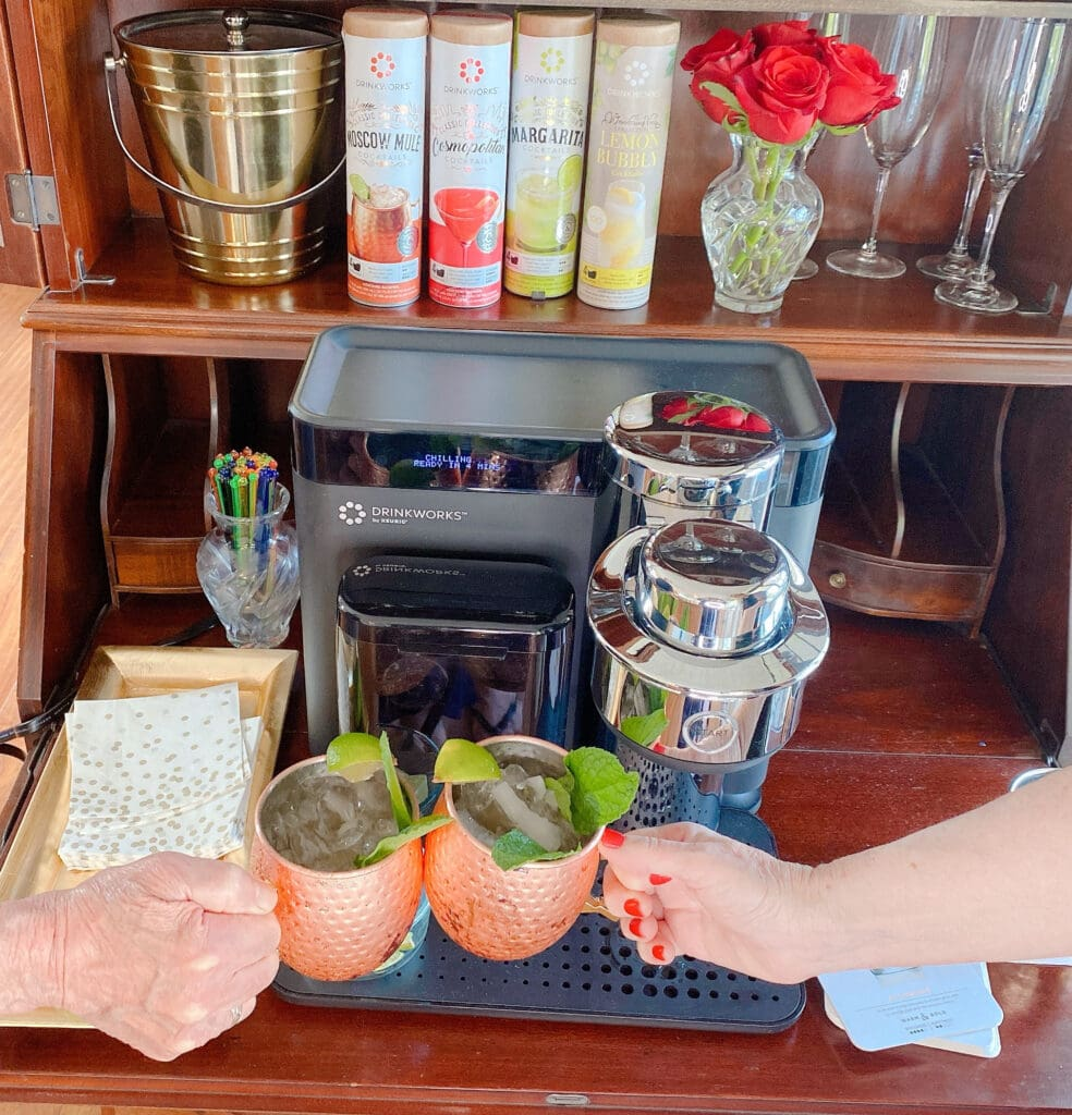 enjoying Moscow Mules on a date night at home with Drinkworks by Keurig