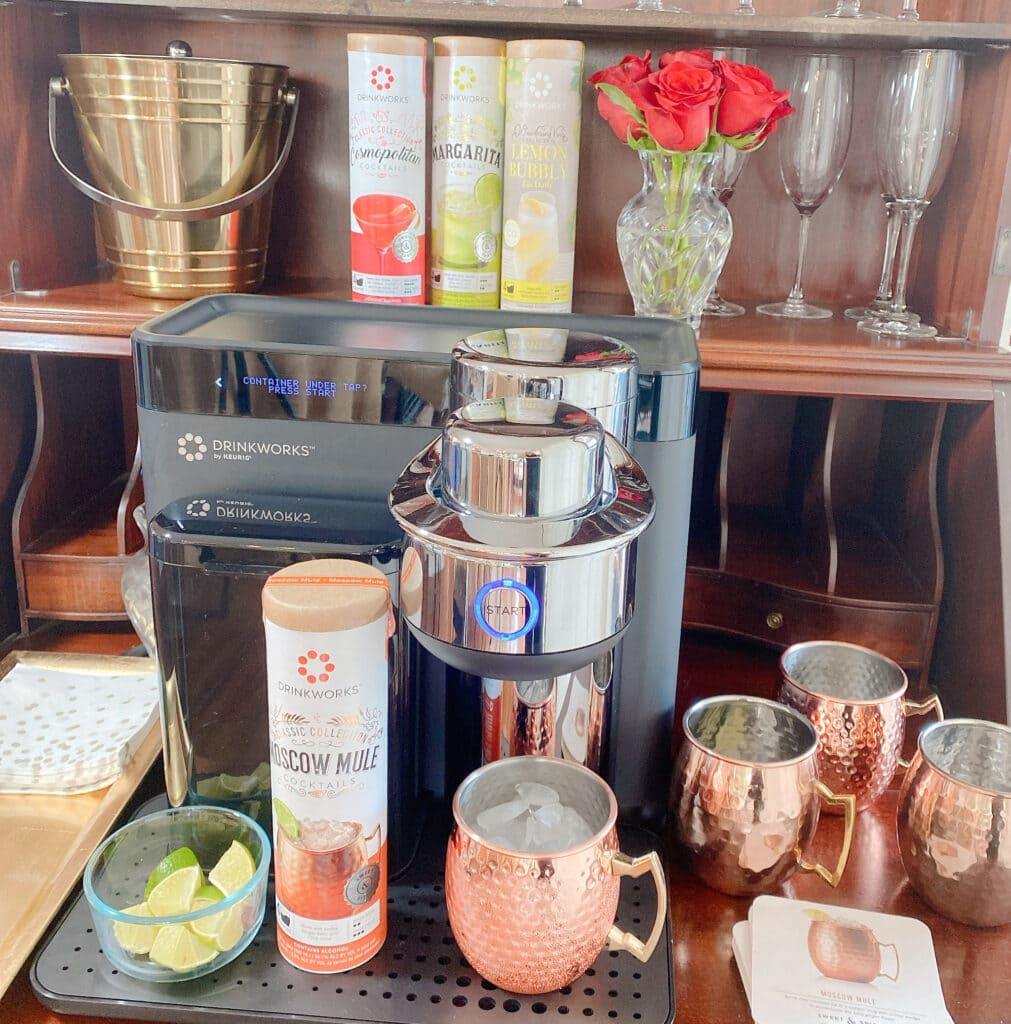 setting up a date night at home with Drinkworks by Keurig