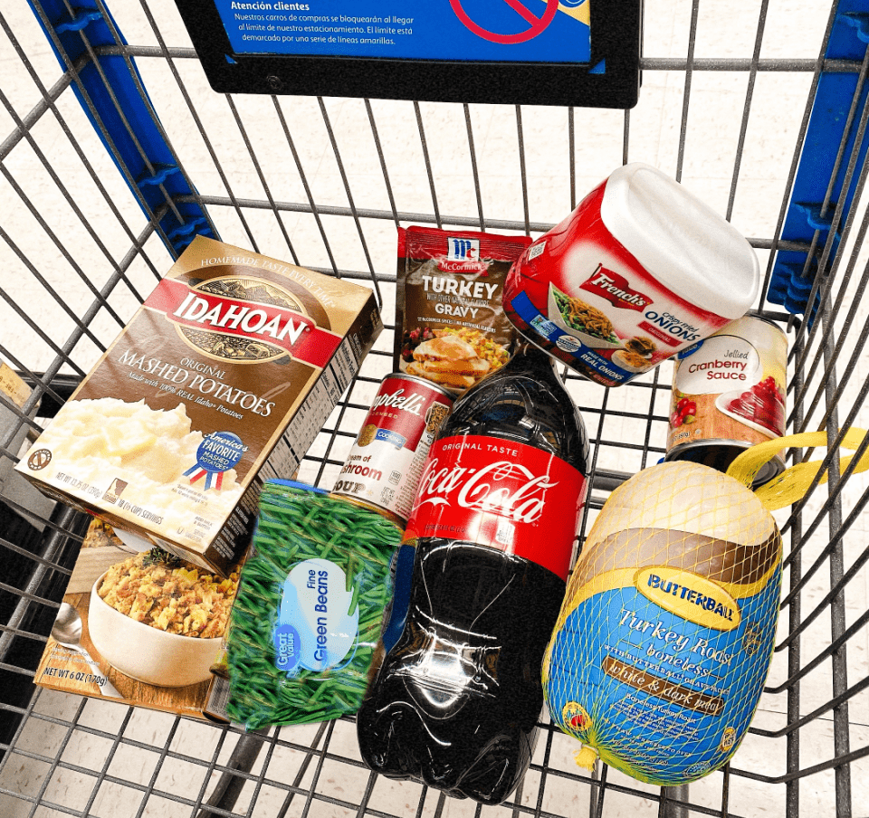 Ibotta free Thanksgiving dinner with cash back items in cart