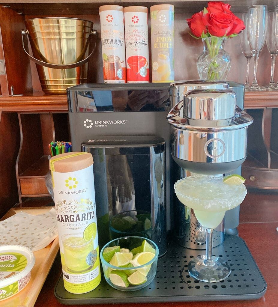 making a Margarita on a date night at home with Drinkworks by Keurig