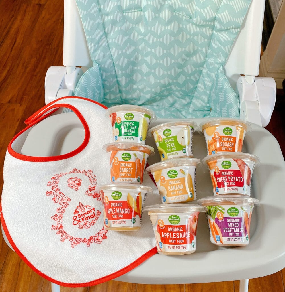 Sun Harvest Organic Baby Food on a high chair from Smart & Final