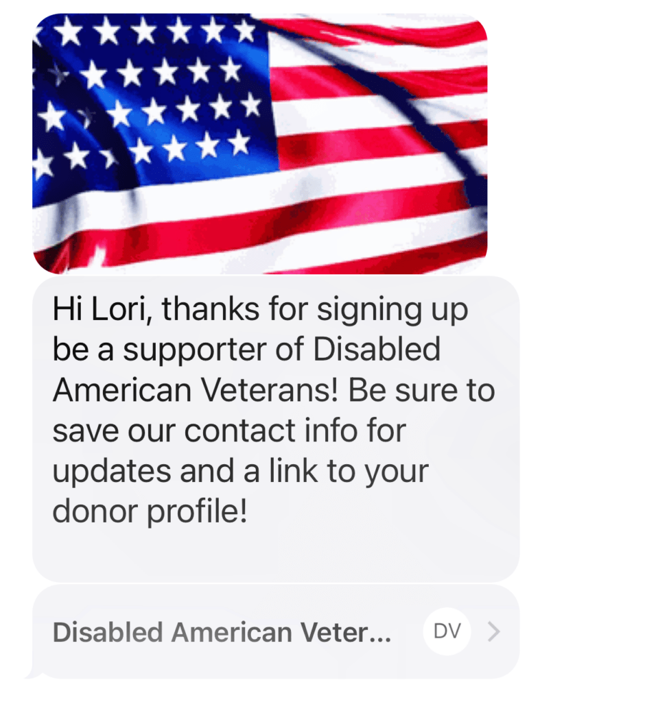 DAV support disabled veterand text message thank you with American flag
