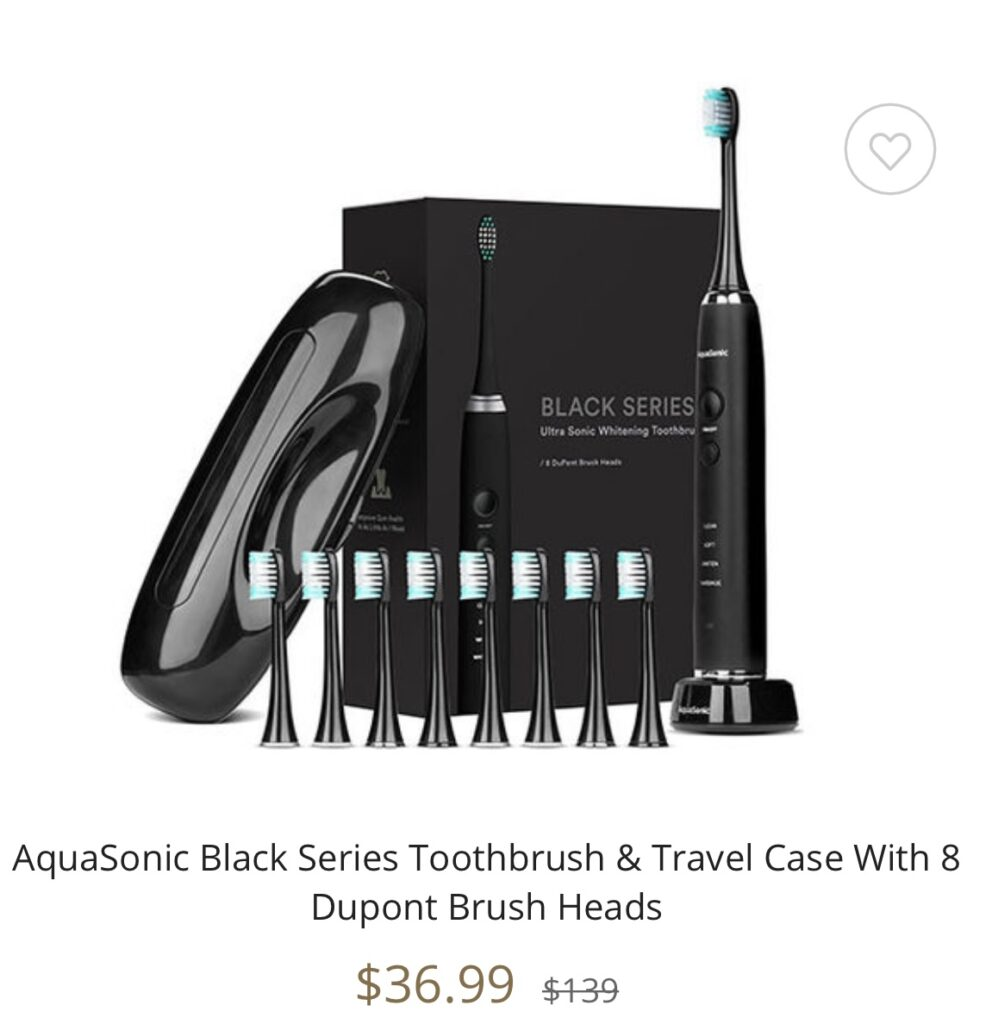 AquaSonic Black Series Toothbrush & Travel Case With 8 Dupont Brush Heads seen on the Kelly Clarkson Show
