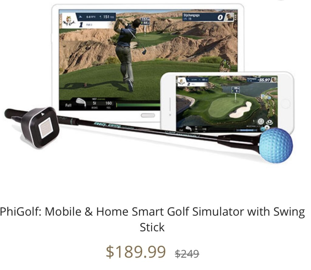 PhiGolf: Mobile & Home Smart Golf Simulator with Swing Stick seen on the Kelly Clarkson Show