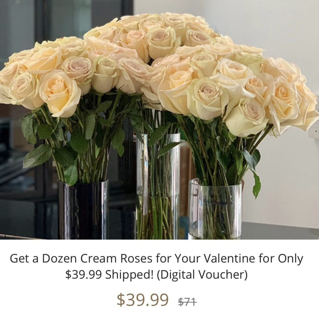 Get a Dozen Cream Roses for only $39.99 (Digital Voucher) seen on the Kelly Clarkson Show