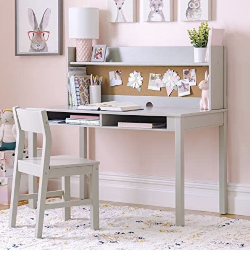 Martha Stewart Living and Learning Kids' Desk with Hutch and Chair - White (Ages 5-12 Years) Children's Wooden Study Table with Storage