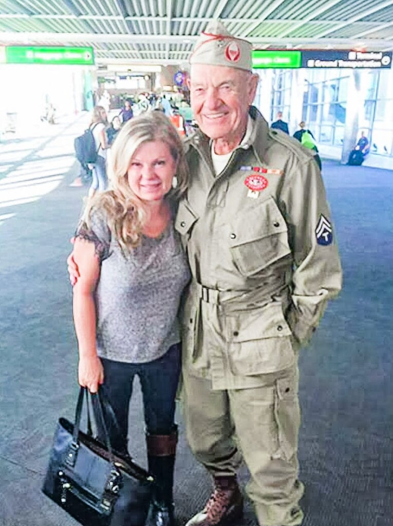 lori Felix with a WWII soldier