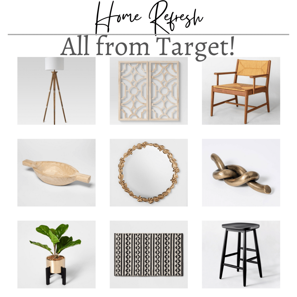 Home Decor from Target a collage of inexpensive home decor products